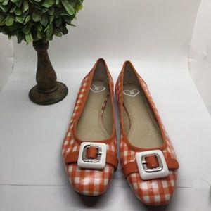 Madeline Orange and white checker flats